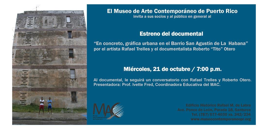 arquillano Estreno de Documental: En, Concreto, Grafica Urbana en el Barrio San Agustin de la Habana