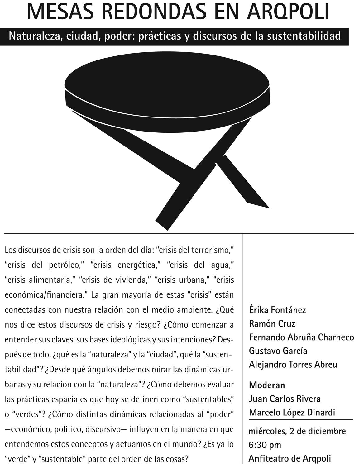 arquillano Mesa Redonda en ArqPoli   Naturaleza, ciudad, poder: prácticas y discursos de la sustentabilidad