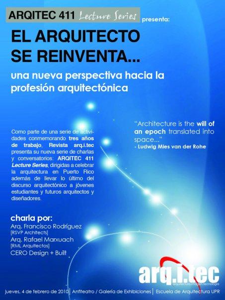 arquillano ARQUITEC 411 Lecture Series: El Arquitecto se Reinventa