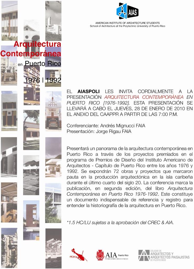 arquillano Presentación: Arquitectura Contemporánea en Puerto Rico [1976 1992]