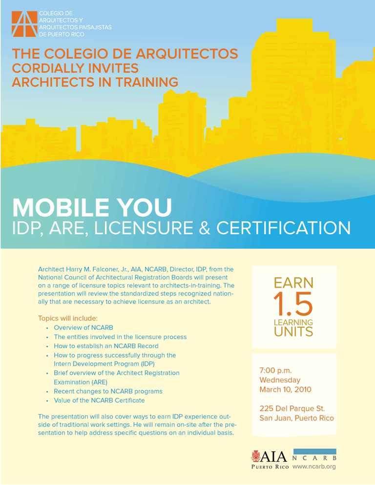 arquillano Conferencia CAAPPR : Mobile You   IDP, ARE, Licensure & Certification
