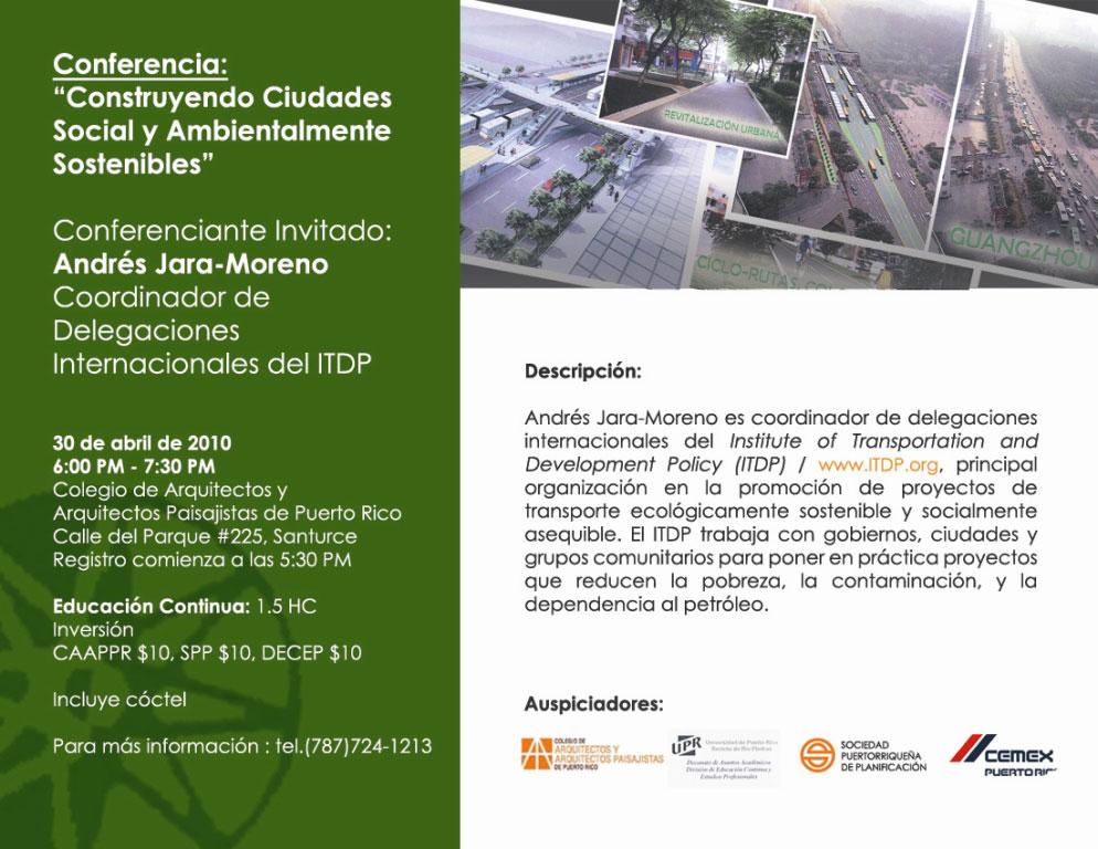 arquillano Conferencia: Construyendo Ciudades Social y Ambientalmente Sostenibles