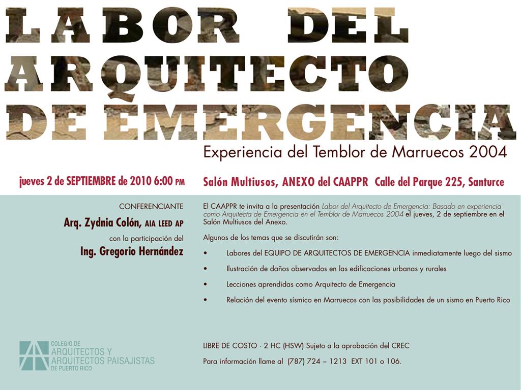 arquillano EVENTO DE LA SEMANA   Conferencia CAAPPR: Labor del Arquitecto de Emergencia