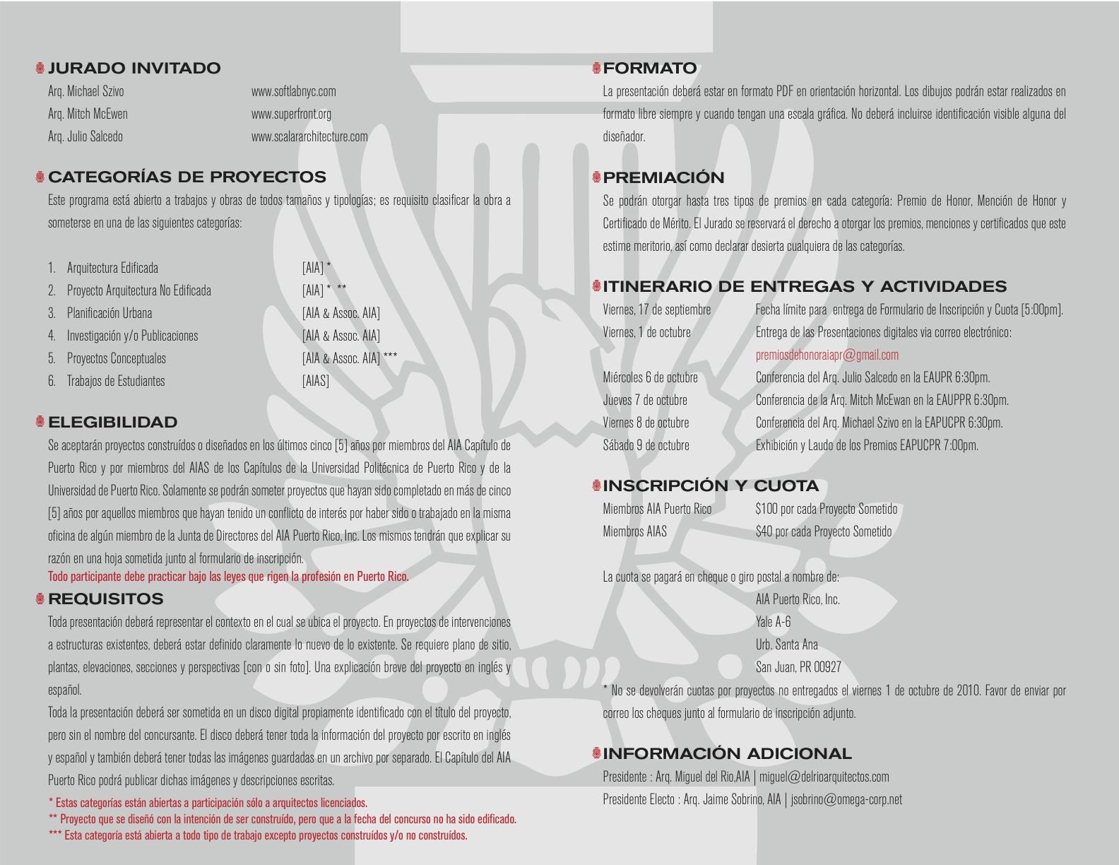 arquillano Convocatoria Premios de Honor AIA Puerto Rico 2010   REVISADA