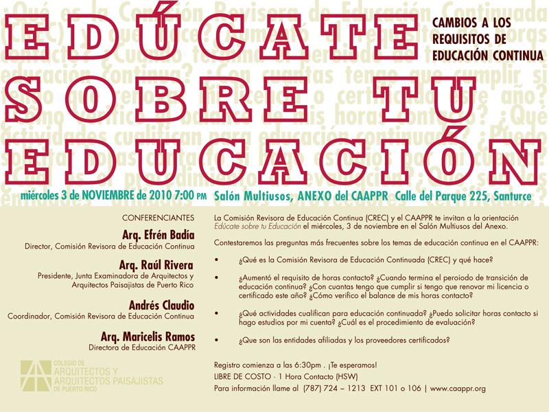 arquillano Conferencia CAAPPR: Edúcate sobre tu educación