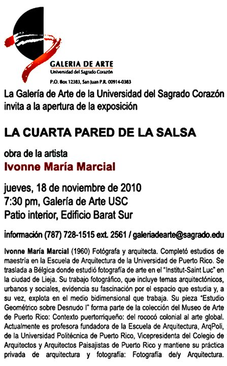 arquillano La CUARTA pared de la salsa: Exhibición fotográfica de Ivonne María Marcial