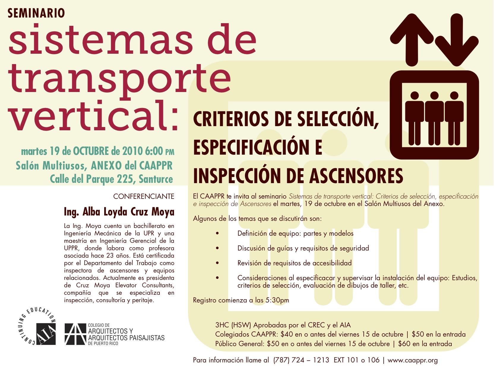 arquillano EVENTO DE LA SEMANA   Seminario CAAPPR: Sistemas de Transporte Vertical