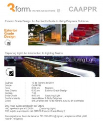 arquillano Seminario 3form: An Architects Guide to Using Polymers Outdoors & Capturing Light