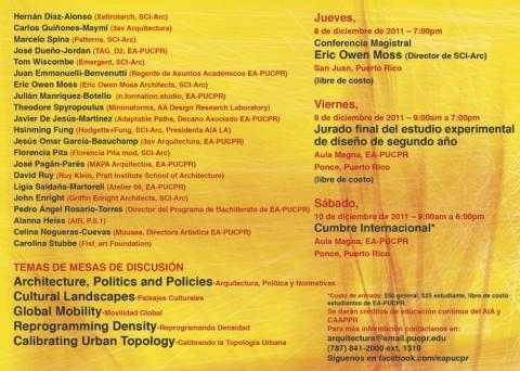 arquillano Cumbre Internacional EAPUCPR   Arquitectura: Política y Normativas para la Ciudad Contemporanea